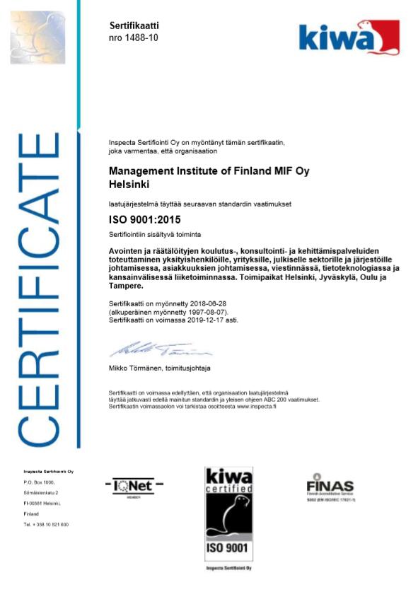Kaikki palvelumme täyttävät ISO 9001 laatuvaatimukset